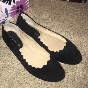 Audrey Brooke Black Scalloped Flats